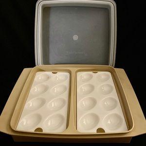 Vintage Tupperware Deviled Egg 4 Piece Set